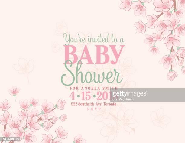 ilustrações de stock, clip art, desenhos animados e ícones de hand drawn baby shower invitation with cherry blossom - chadebebe