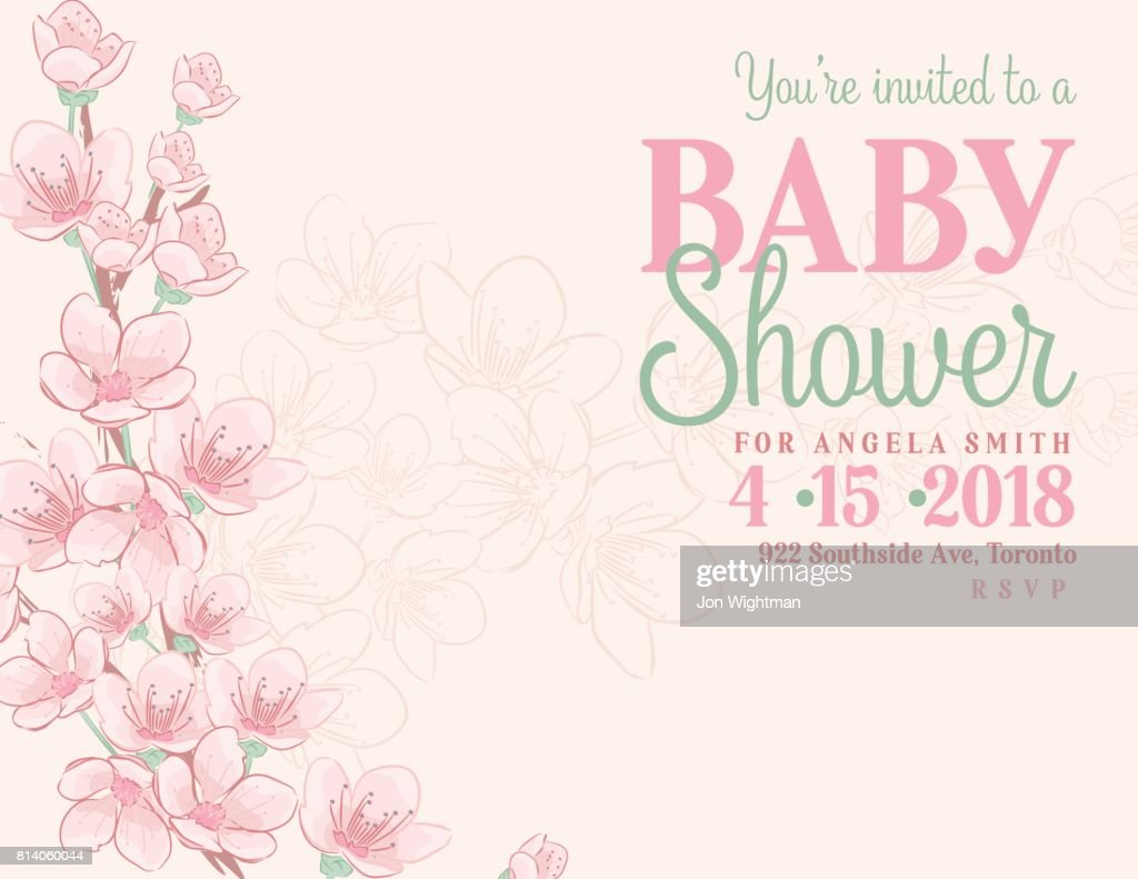 Hand drawn baby shower invitation with cherry blossom vector art hand drawn baby shower invitation with cherry blossom vector art filmwisefo