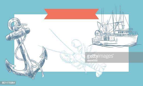 ilustraciones, imágenes clip art, dibujos animados e iconos de stock de fondos dibujados con elementos náuticos de la mano - pescadoymariscos