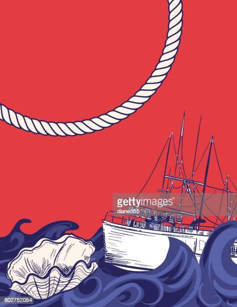 Die Hand gezeichnete Hintergründe mit nautischen Elementen