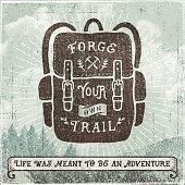 Hand Drawn Backpack,Hiking,Camping Sign