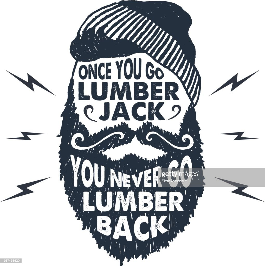 Hand drawn badge with textured face with beard vector illustration.