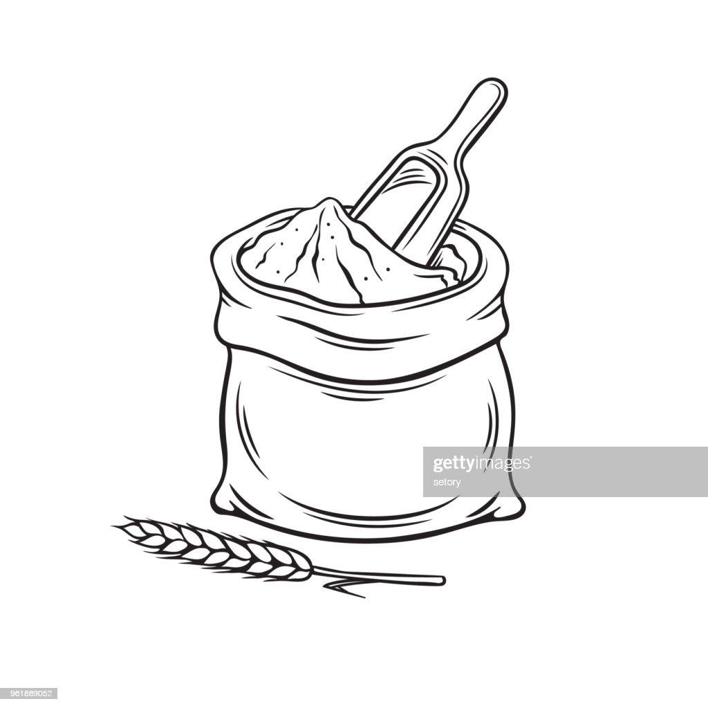 Hand drawn bag of flour
