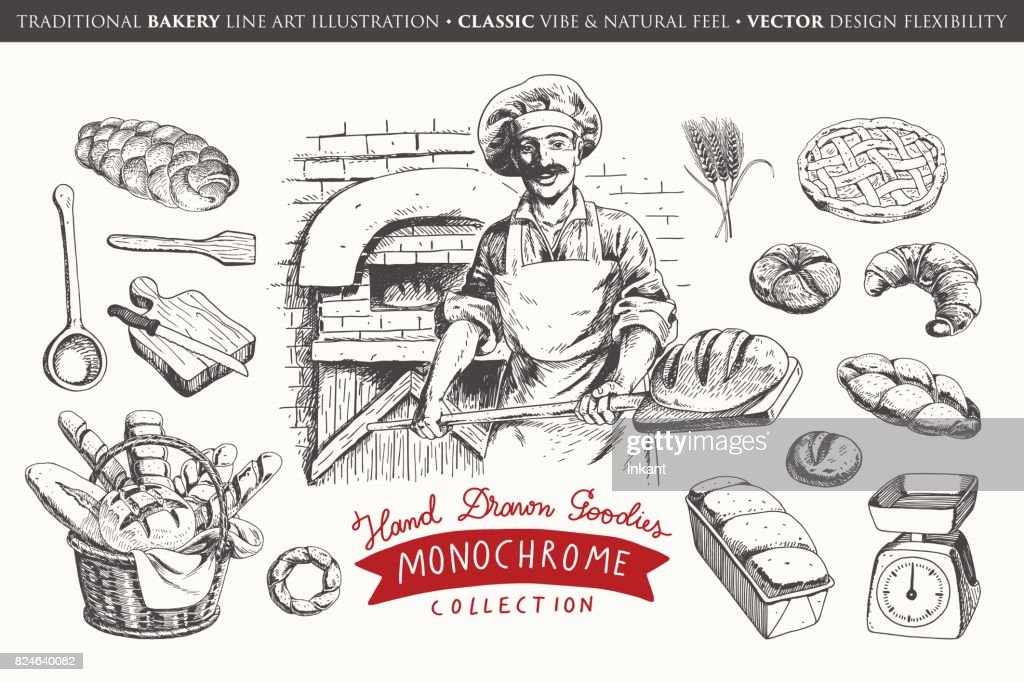 Hand drawn bakery collection