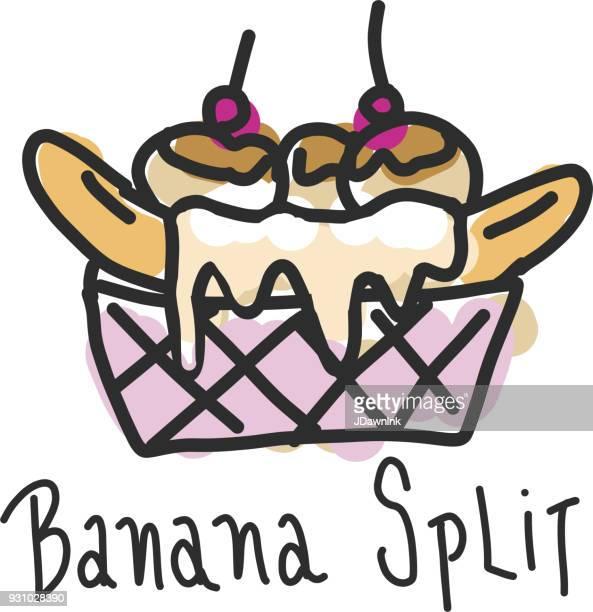 手描き下ろしバナナスプリット デザート - バナナスプリット点のイラスト素材/クリップアート素材/マンガ素材/アイコン素材