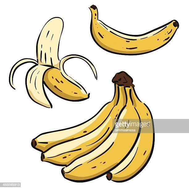 hand drawn bananas - banana stock illustrations, clip art, cartoons, & icons