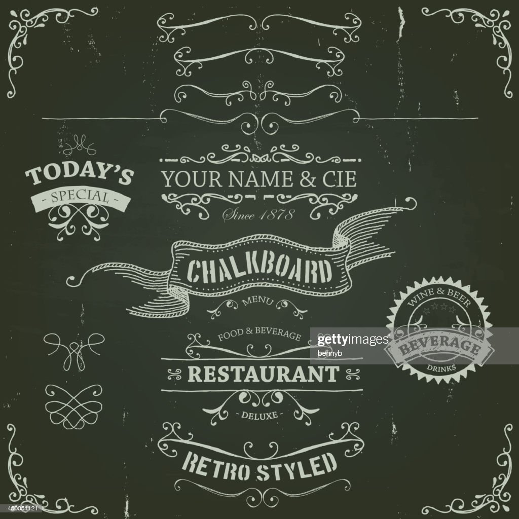 Hand Drawn Banners And Patterns On Chalkboard