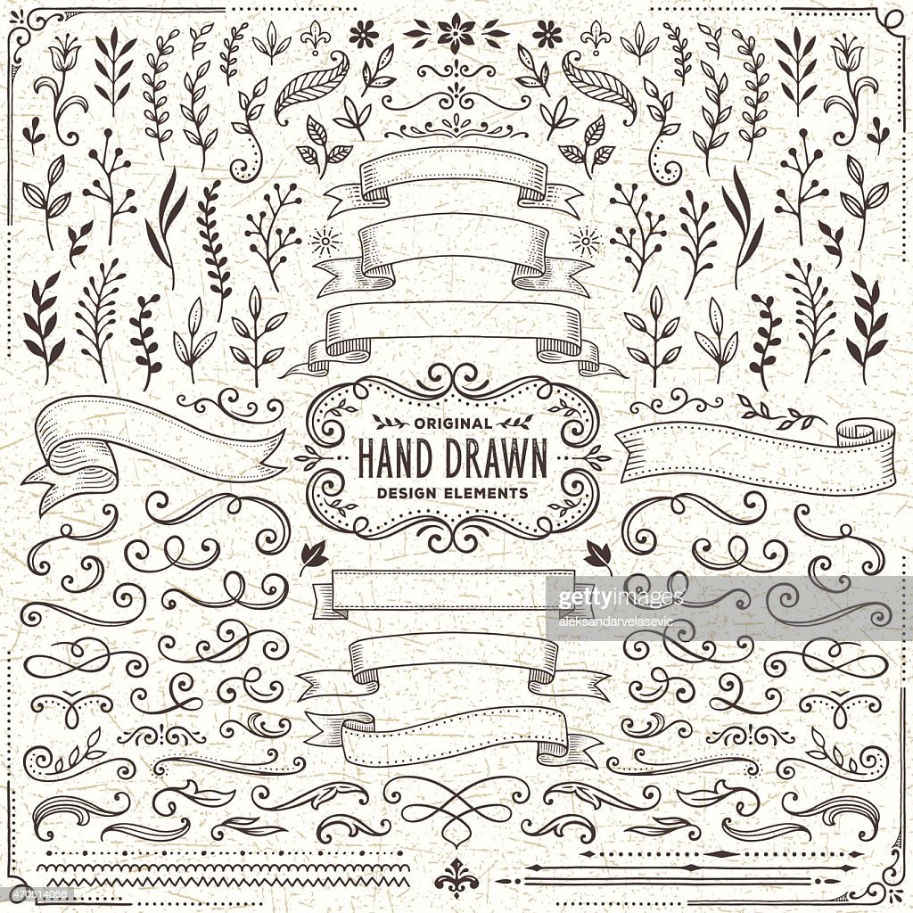 Hand Drawn Banners, Leaves,Flowers, Branches and Swirls : stock vector