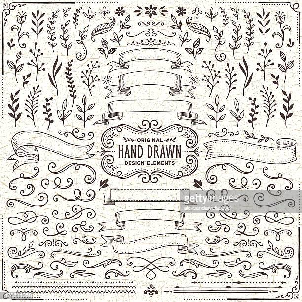 hand drawn banners, leaves,flowers, branches and swirls - decoration stock illustrations
