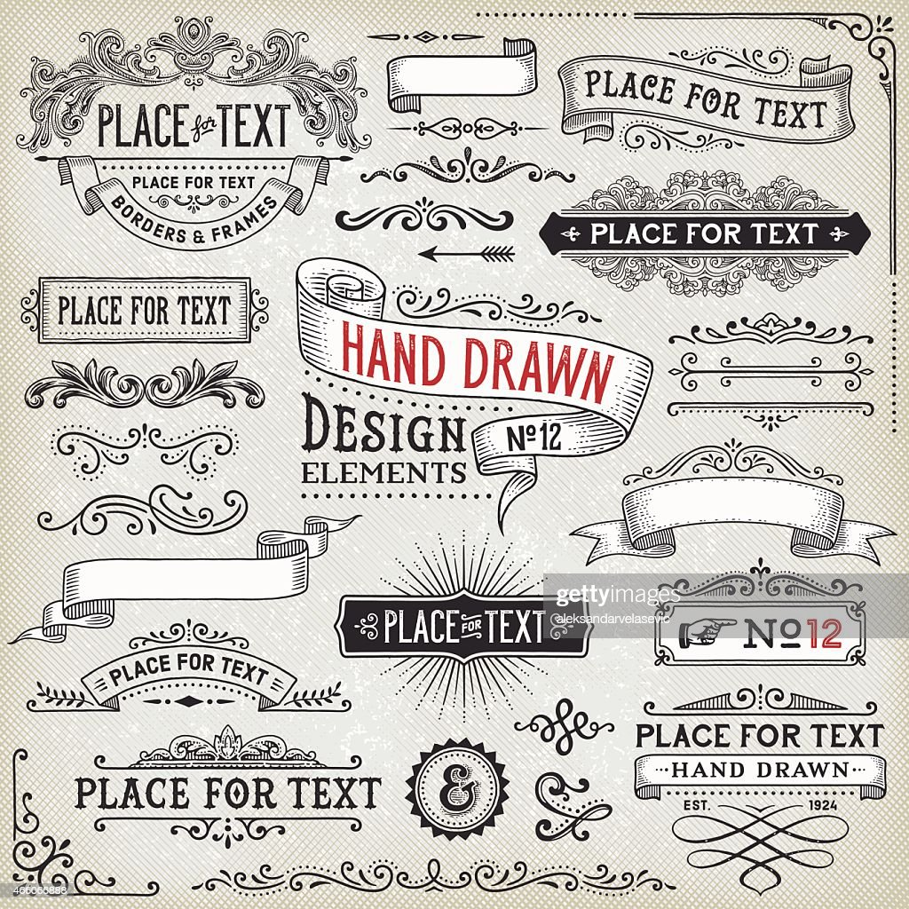 Hand Drawn Banners,Badges and Frames : stock illustration