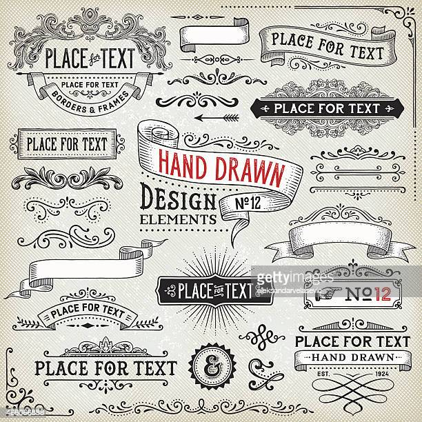 hand drawn banners,badges and frames - retro style stock illustrations