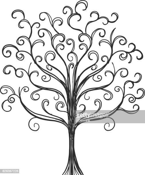 Hand drawn bare Tree