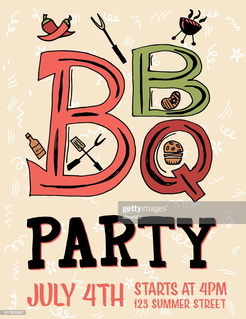 Hand Drawn Bbq Party Invitation And Design Elements Vector Art ...