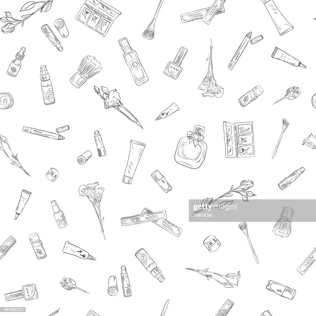 Hand drawn beauty and cosmetics items set. Seamless pattern background for design