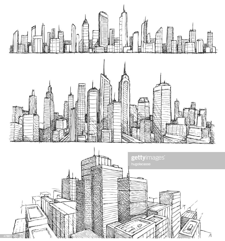 Hand drawn big city cityscapes and buildings