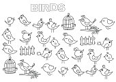 Hand drawn birds set. Coloring book page template.  Outline doodle