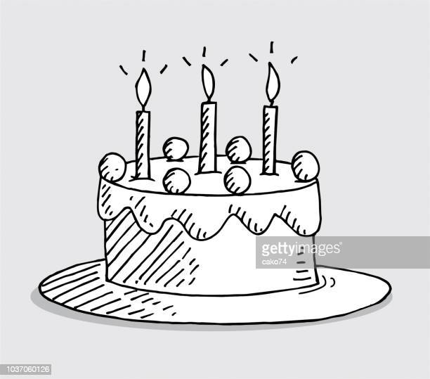 Tremendous Drawing Of A Birthday Cake Stock Illustrations Getty Images Birthday Cards Printable Trancafe Filternl