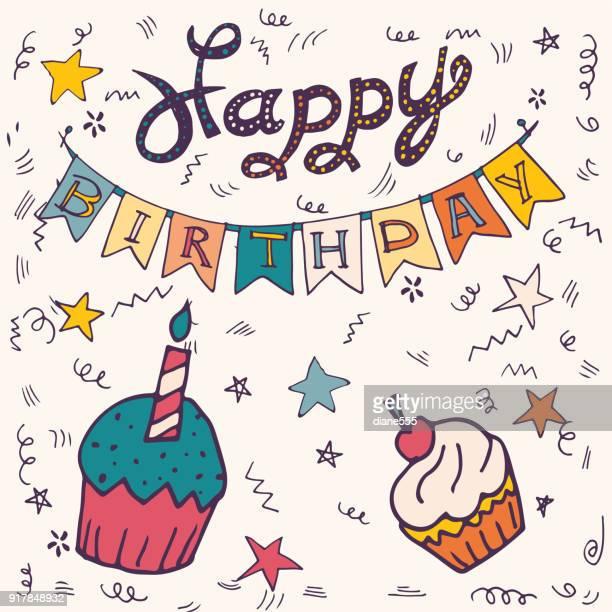 stockillustraties, clipart, cartoons en iconen met hand getrokken verjaardag partij typografie en decoratie - happy birthday vintage