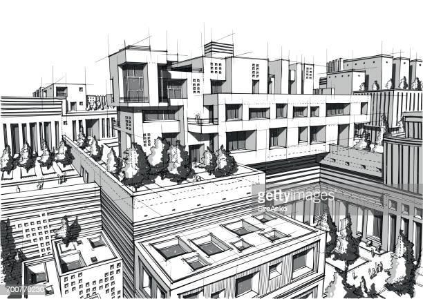 Hand drawn black and white architecture