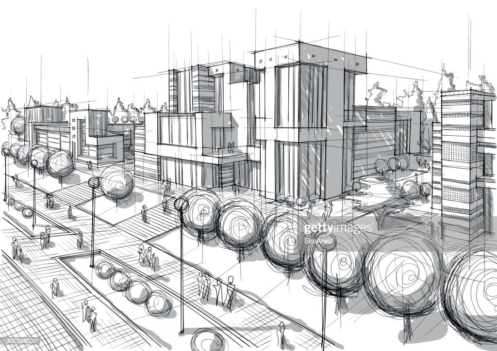 Hand drawn black and white architecture : stock illustration