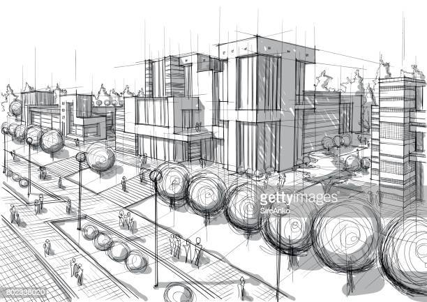 hand drawn black and white architecture - architecture stock illustrations
