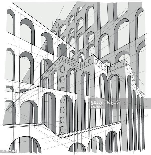 Arquitectura blanco y negro dibujado a mano
