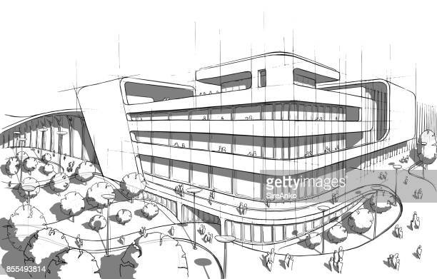 Schwarzen und weißen Architektur Hand gezeichnet