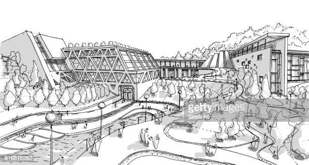 hand drawn black and white architecture - architectural feature stock illustrations, clip art, cartoons, & icons
