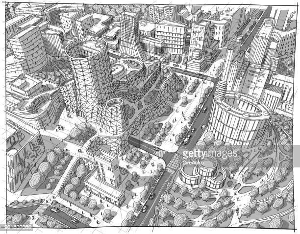 Hand drawn black and white architecture