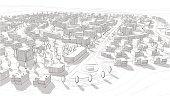 Hand drawn black and white city architecture