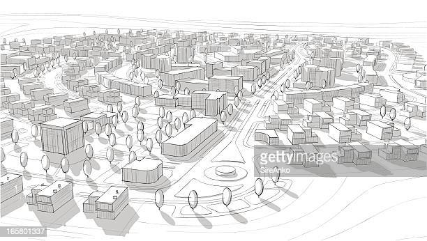 hand drawn black and white city architecture - borough district type stock illustrations