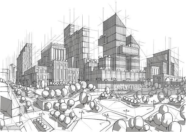 Hand drawn black and white city architecture