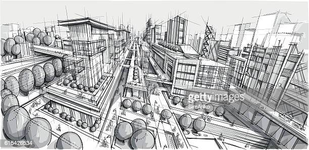 hand drawn black and white city architecture - architecture stock illustrations, clip art, cartoons, & icons