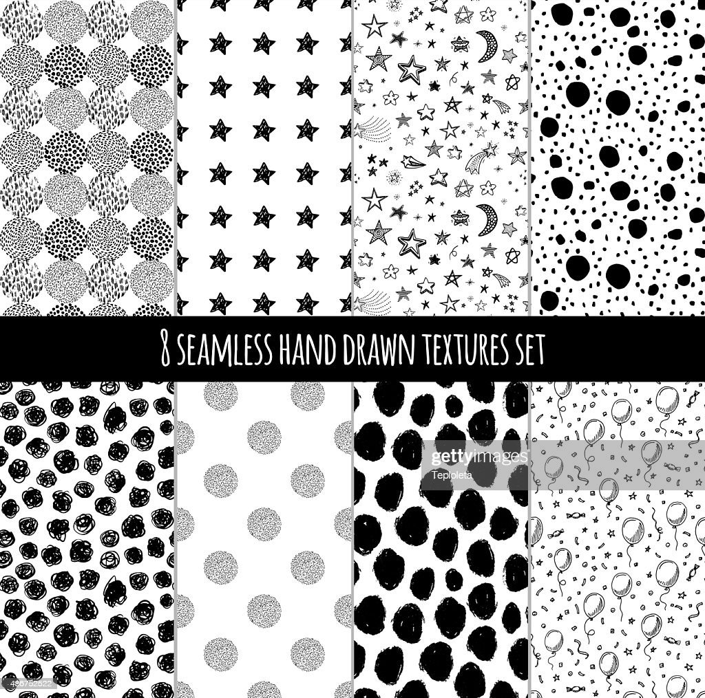 Hand drawn black and white doodle patterns set.