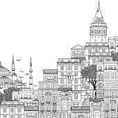 Hand drawn black and white illustration of Istanbul
