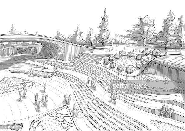 hand drawn black and white landscape architecture - natural parkland stock illustrations, clip art, cartoons, & icons