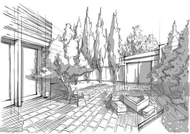 ilustraciones, imágenes clip art, dibujos animados e iconos de stock de arquitectura del paisaje blanco y negro dibujado a mano - arquitectura