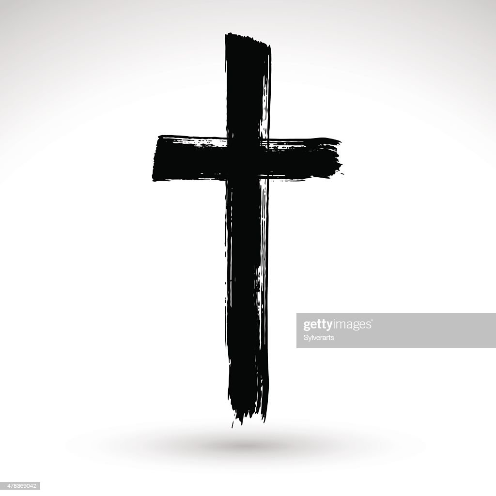 Hand drawn black grunge cross icon, simple Christian cross sign,
