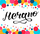 Hand drawn black lettering text Merano with colored circles. City in Italy. Modern calligraphy vector Illustration. Print for logo, blogger, travel, map, catalog, web site, poster, blog, banner.