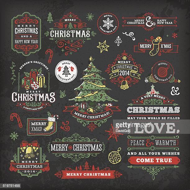 hand drawn blackboard christmas labels & badges - mistletoe stock illustrations