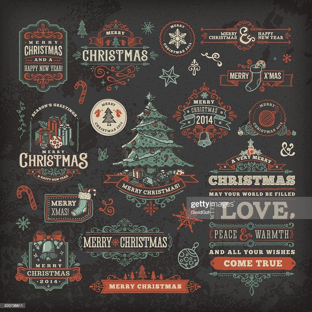 Hand Drawn Blackboard Christmas Labels & Badges : stock illustration