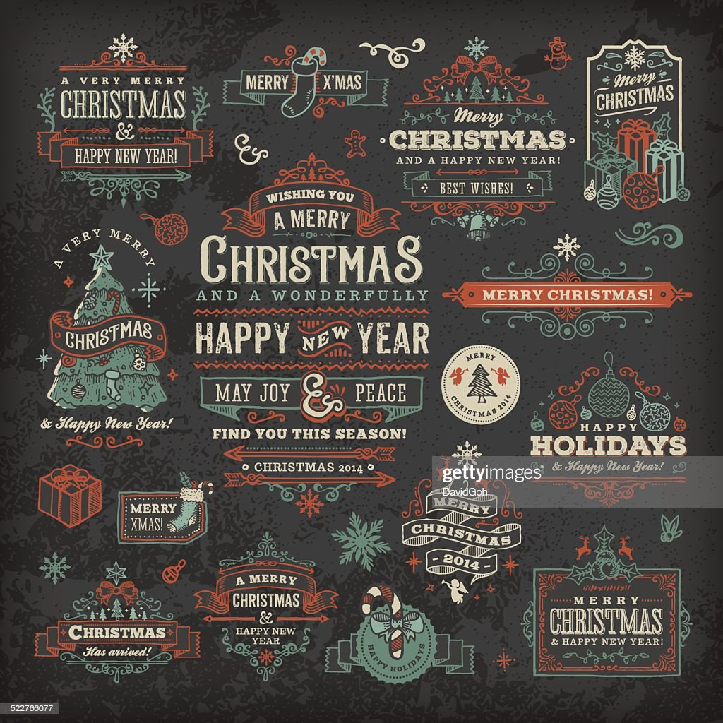 hand drawn blackboard christmas labels badges vector art getty images