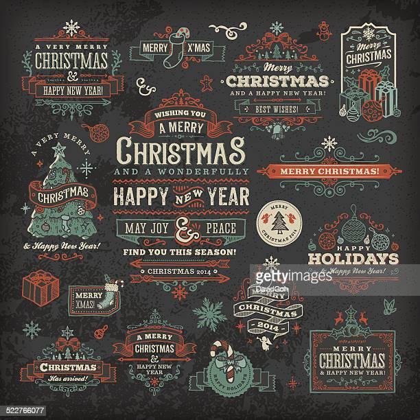 hand drawn blackboard christmas labels & badges - mistletoe stock illustrations, clip art, cartoons, & icons