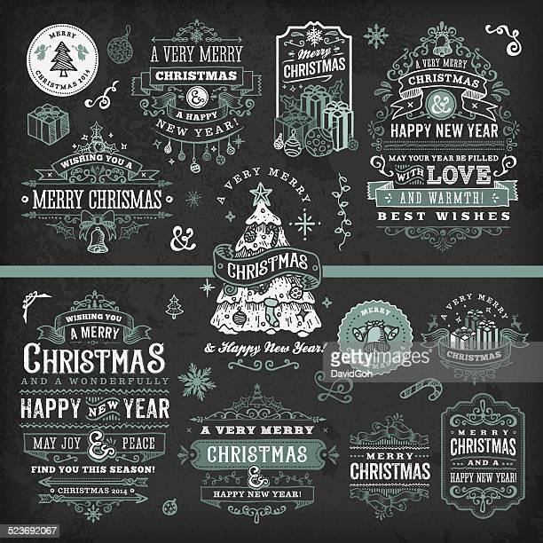 Hand Drawn Tafel Weihnachten Etiketten & Badges