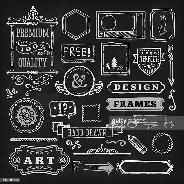Hand Drawn Blackboard Frames & Labels