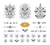 Hand drawn boho patterns with stroke