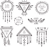 Hand Drawn Boho Style Frames and Decorations.