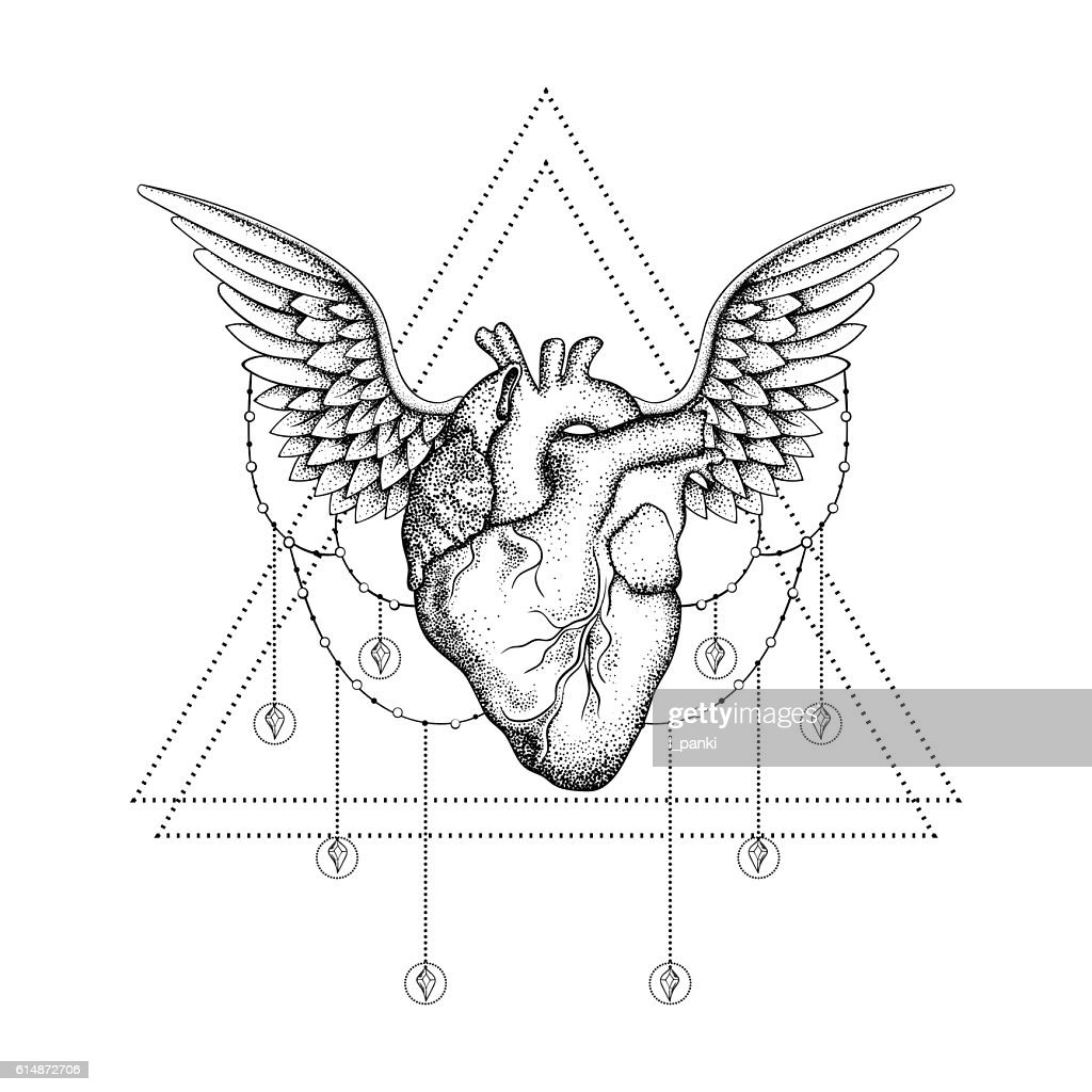 Hand drawn boho tattoo. Blackwork heart with wings in hipster