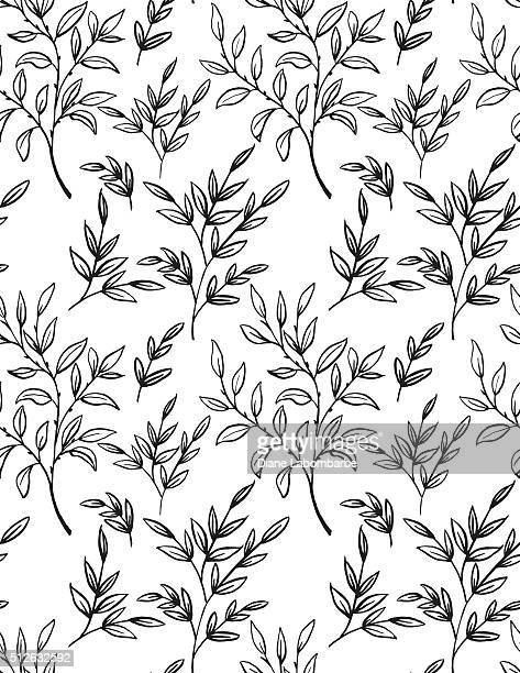 Hand Drawn Branches With leaves Seamless pattern