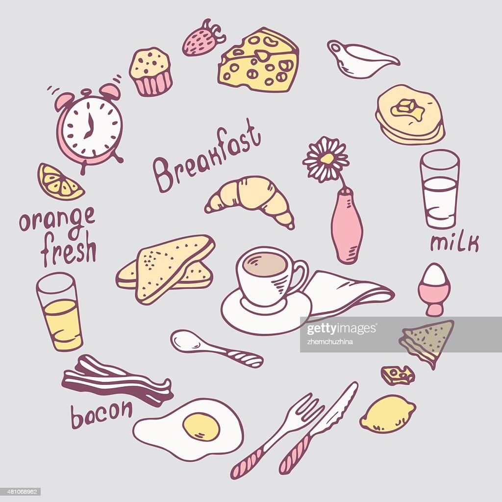 Hand drawn breakfast item set. Cute food illustration in vector